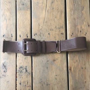 NWT Cole Haan Wide Brown Belt with Gold Hardware